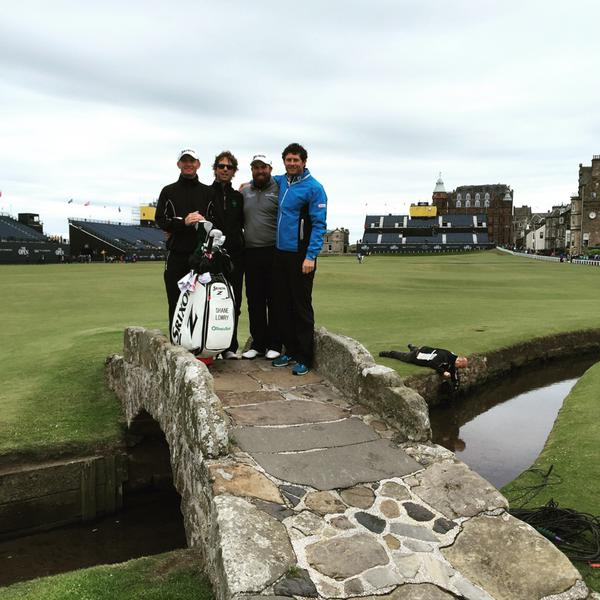 Shane Lowry with his caddie Dermot Byrne, coach Neil Manchip and performance coach Robbie Cannon at St Andrews. Picture: Twitter