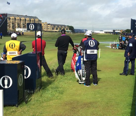 Pádraig Harrington waits on the second tee.