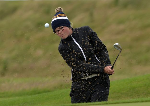 Annabel Wilson (Lurgan) bunkered at the 15th green in the final of the 2015 Irish Girl's Close Amateur Championship at Galway Bay Golf Club (18/07/2015). Picture by  Pat Cashman
