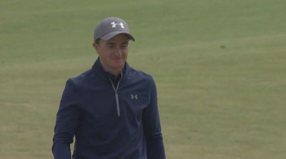 Paul Dunne after holing from off the green at the seventh
