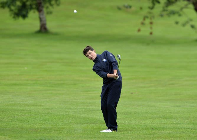Luke Walsh (Munster) pitching to the 13th green. Picture by  Pat Cashman