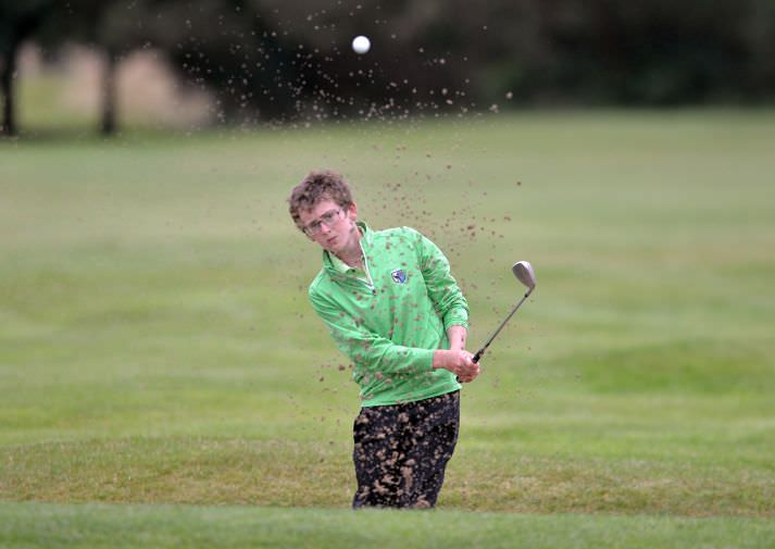 Patrick Callaghan (Connacht) bunkered at the 13th green in the Boys Under 14 Interprovincial Championship matches at Athlone Golf Club. Picture by  Pat Cashman