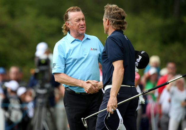 Germany's Bernhard Langer shakes hands with Spain's Miguel Angel Jimenez at Sunningdale. Picture: Getty Images