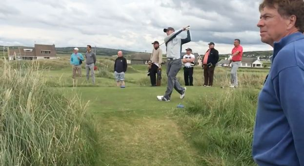 Keith Egan drives on the 15th in the quarters-finals