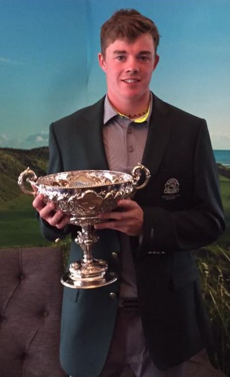 Stuart Grehan with the South of Ireland trophy and his Lahinch blazer
