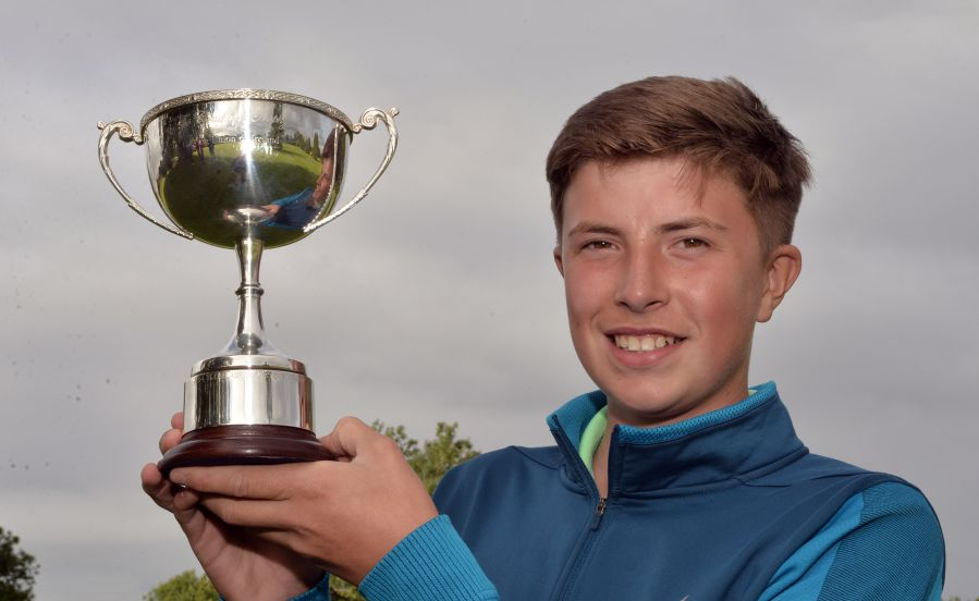 Alex Maguire (Laytown & Bettystown) with the 2015 Irish Boys Under 14 Amateur Open Championship trophy after his victory at Roscrea Golf Club today. (30/07/2015). Picture by Pat Cashman