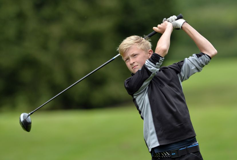 Jack Egan (Muskerry) driving at the 13th tee in the 2015 Irish Boys Under 14 Amateur Open Championship at Roscrea Golf Club. Picture by Pat Cashman