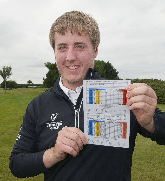 The overall winner Michael Ryan (New Ross) with his course record score card for a 5 under par round of 68 in the Leinster Boys Amateur Open Championship 2015 at Balcarrick Golf Club Photo: Ronan Quinlan