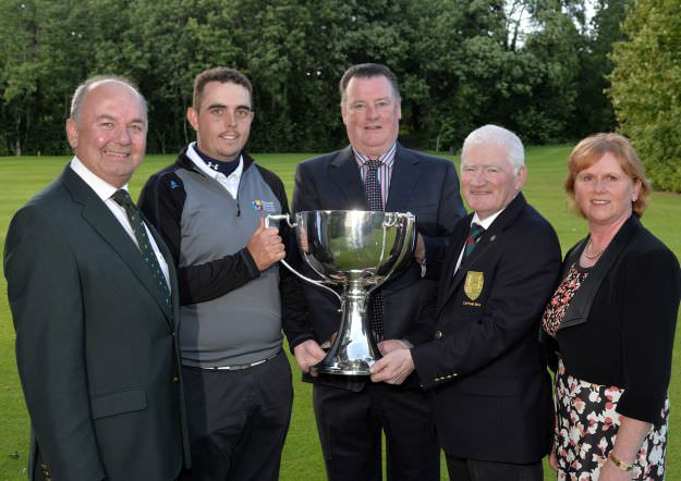 Michael Duffy (Captain, Mulingar Golf Club) presenting the 2015 Mullingar Electrical Scratch trophy to Alan Lowry (Esker Hills) after his victory at Mullingar Golf Club ( 03/08/2015). Also in the picture are Michael Connaughton (President, GUI), Peadar Conlon (sponsor) and Ann Marie Conlon (sponsor). Picture by  Pat Cashman