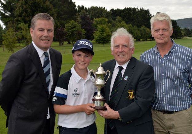 John Ferriter (Chairman, Leinster Golf, GUI) presenting Joshua McCabe (Roganstown) with the 2015 Leinster Boys' Under 13 Series Trophy (sponsored by Titleist) after his victory at the Castle Golf Club (06/08/2015). Also in the picture are John McCormack (General Manager, Castle Golf Club) and Seamus McCabe (Father). Picture by Pat Cashman