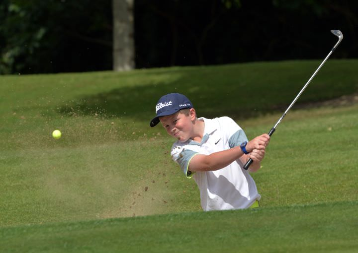 Joseph Byrne (Baltinglass) bunkered at the 15th hole during the 2015 Leinster Boys' Under 13 series Final (sponsored by Titleist) at the Castle Golf Club (06/08/2015). Picture by Pat Cashman