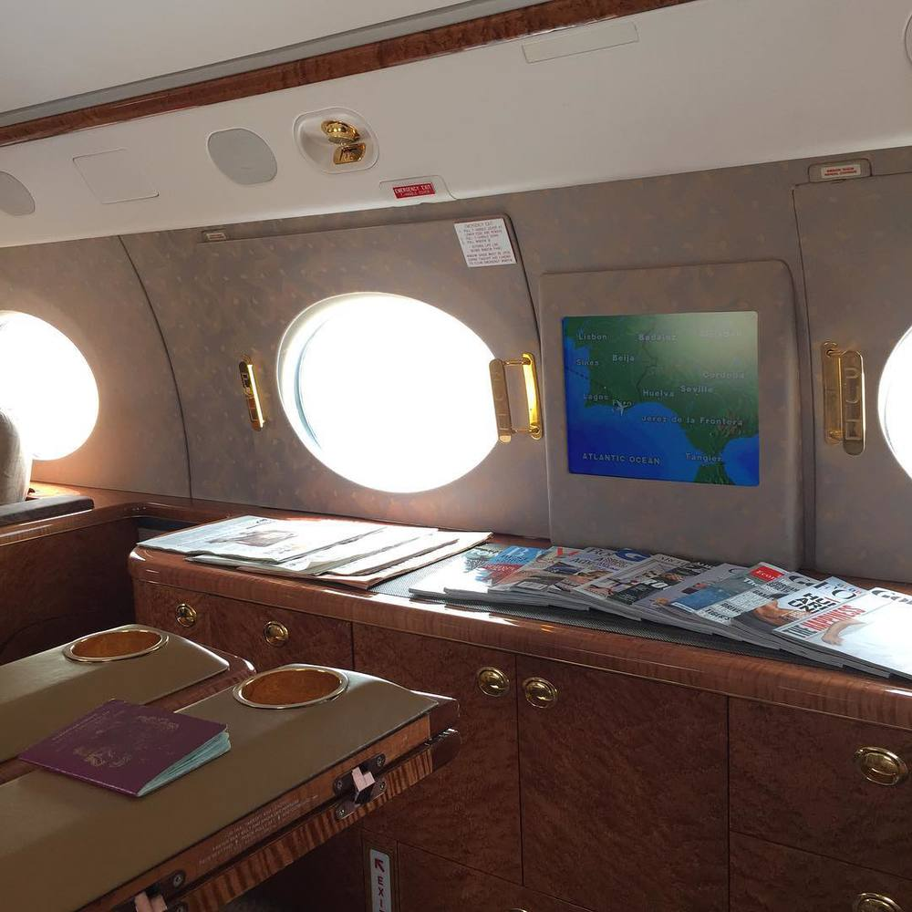 Interior of jet. Instagram.com/RoryMcIlroy