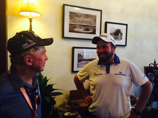 Shane Lowry, seen here chatting to reporter Bernie McGuire, was in relaxed mood at Whistling Straits on Monday. Picture: Brian Keogh