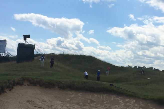 Shane Lowry and Padraig Harrington had another of their short game contests at Whistling Straits. Victory on this occasion went to the the senior player.