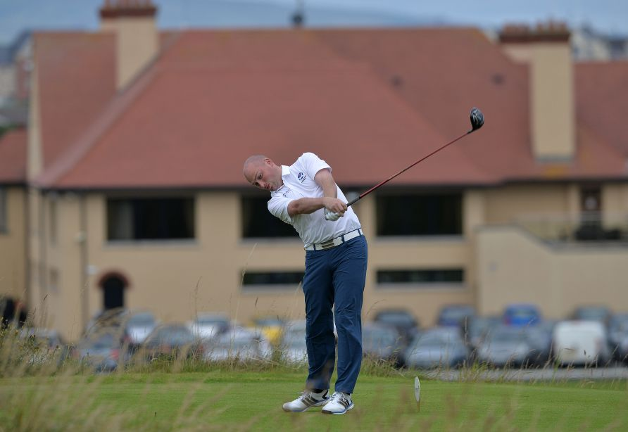 Matt Clark (Scotland) driving at the 2nd tee on the first day of the 2015 Home International Matches at Royal Portrush Golf Club (12/08/2015). Picture by  Pat Cashman