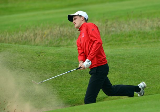 Ashton Turner (England) playing from the bunker at the 17th green on the first day of the 2015 Home International Matches at Royal Portrush Golf Club. Picture by Pat Cashman