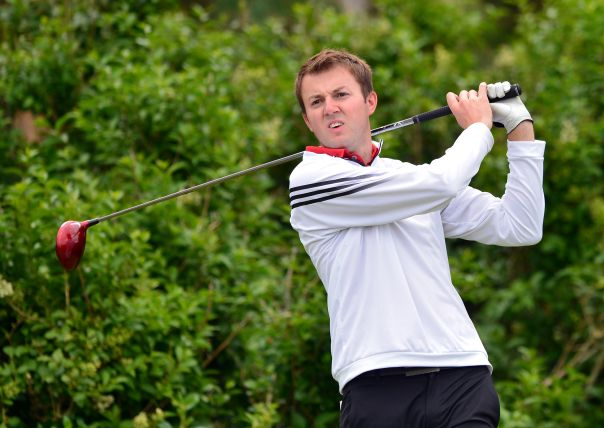Ashley Chesters (England) driving at the 5th tee on the first day of the 2015 Home International Matches at Royal Portrush Golf. Picture by Pat Cashman