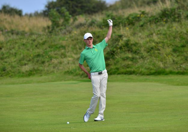 Rowan Lester (Ireland) prepares to play his second shot to the 9th green. Picture by Pat Cashman