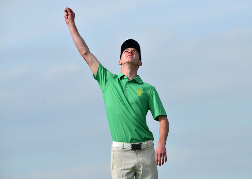 Reach for the sky.......Rowan Lester (Ireland) checking the wind at the 12th hole during the second day of the 2015 Home International Matches. Picture by Pat Cashman