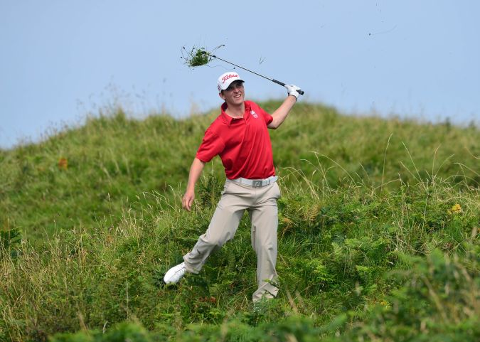 David Boote (Wales) playing from the rough at the 9th hole. Picture by Pat Cashman