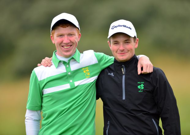 Gavin Moynihan and Jack Hume (Ireland) on the 17th green after winning their match during the final day of the 2015 Home International Matches. Picture by Pat Cashman