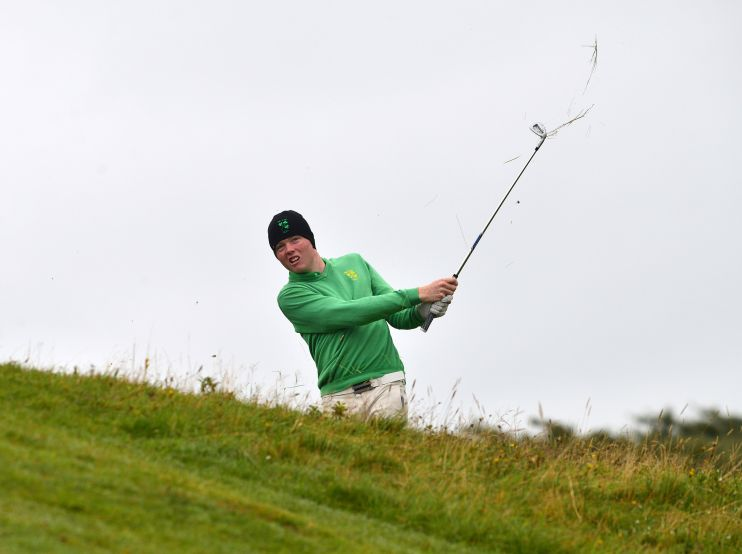 Robin Dawson (Ireland) playing his second shot to the 15th green during the final day of the 2015 Home International Matches at Royal Portrush. Picture by Pat Cashman