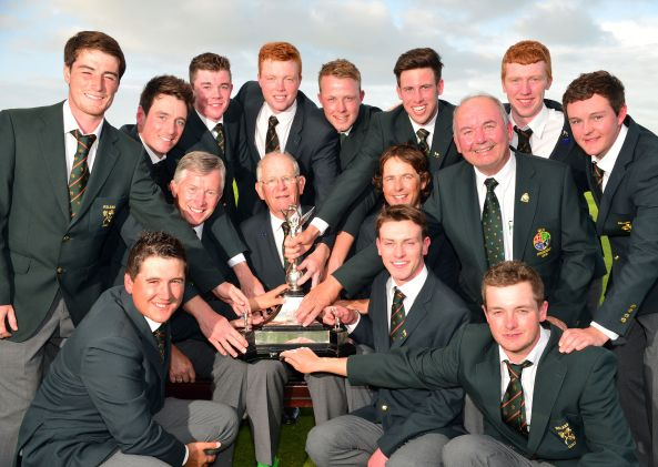 Michael Connaughton (President, GUI) with Tony Goode (Team Captain), John White (Team Manager), Neil Manchip (National Coach) and the winning Irish Home International team after their victory at the 2015 Home International Matches at Royal Portrush Golf Club. Team members Dermot McElroy, Colin Fairweather, Stuart Grehan, Robin Dawson, Paul McBride, Alex Gleeson, Gavin Moynihan, John Ross Galbraith, Colm Campbell, Rowan Lester and Jack Hume. Picture by Pat Cashman