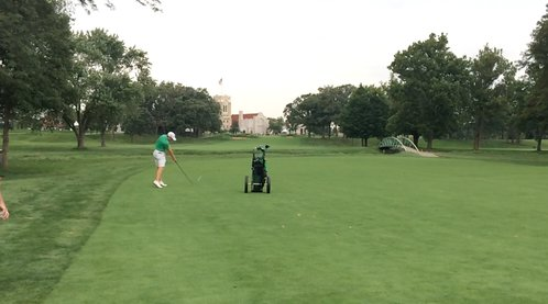 Paul Dunne plays his approach to the 18th on the South Course at Olympia Fields