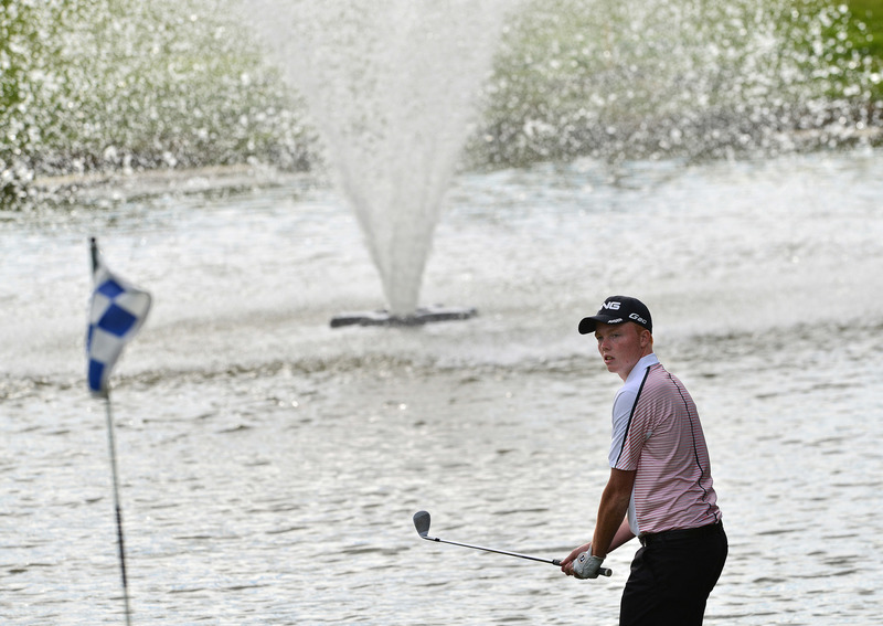 Robin Dawson (Faithlegg) pitching to the 16th green. Picture by  Pat Cashman