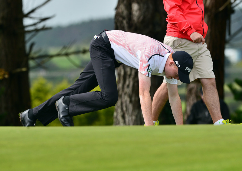 Robin Dawson (Faithlegg) lining up his putt on the 7th green during the second day of strokeplay at the 2015 Irish Amateur Close Championship at Tramore Golf Club (19/05/2015). Picture by Pat Cashman