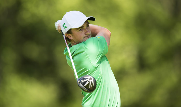 Paul Dunne watches his tee shot on the sixth hole during the third round of match play of the 2015 U.S. Amateur at Olympia Fields Country Club in Olympia Fields, Ill. on Thursday, Aug. 20, 2015.  (Copyright USGA/John Mummert)
