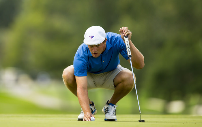 Bryson DeChambeau lines up his putt on the eighth hole during the second round of match play of the 2015 U.S. Amateur at Olympia Fields Country Club in Olympia Fields, Ill. on Thursday, Aug. 20, 2015.  (Copyright USGA/Chris Keane)