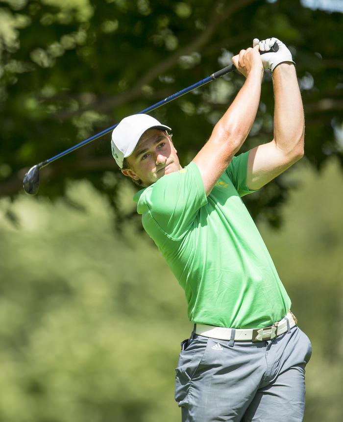 Paul Dunne watches his tee shot on the third hole during the third round of match play of the 2015 U.S. Amateur at Olympia Fields Country Club in Olympia Fields, Ill. on Thursday, Aug. 20, 2015.  (Copyright USGA/Chris Keane)