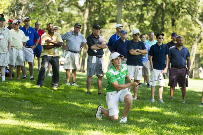 Paul Dunne plays his second shot on the third hole during the quarterfinal round of match play of the 2015 U.S. Amateur at Olympia Fields Country Club in Olympia Fields, Ill. on Friday, Aug. 21, 2015.  (Copyright USGA/Chris Keane)