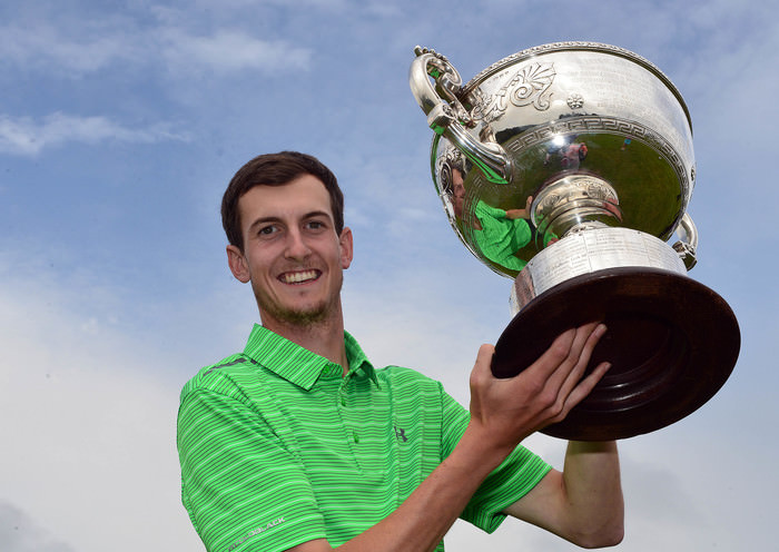 Tiarnan McLarnon (Massereene) with the 2015 AIG Irish Amateur Close Championship trophy after his victory at Tramore Golf Club (22/05/2015). Picture by  Pat Cashman