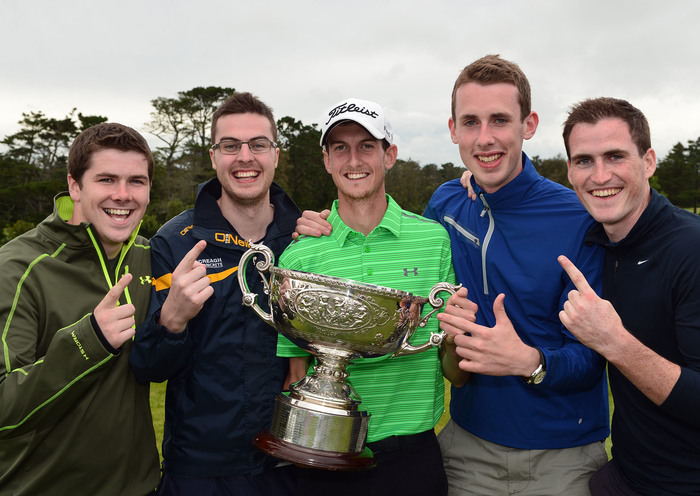 Tiarnan McLarnon (Massereene) with the 2015 AIG Irish Amateur Close Championship trophy after his victory at Tramore Golf Club (22/05/2015) with his Antrim GAA friends Kevin Kerr, Damian McLarnon, Michael Gormley and Caoimhim Duffin. Picture by  Pat Cashman