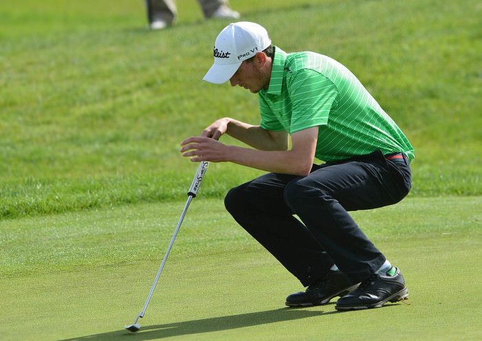 Winner Tiarnan McLarnon (Massereene) reacts to a missed putt on the 11th green in his  final match at the 2015 AIG Irish Amateur Close Championship at Tramore Golf Club (22/05/2015). Picture by  Pat Cashman