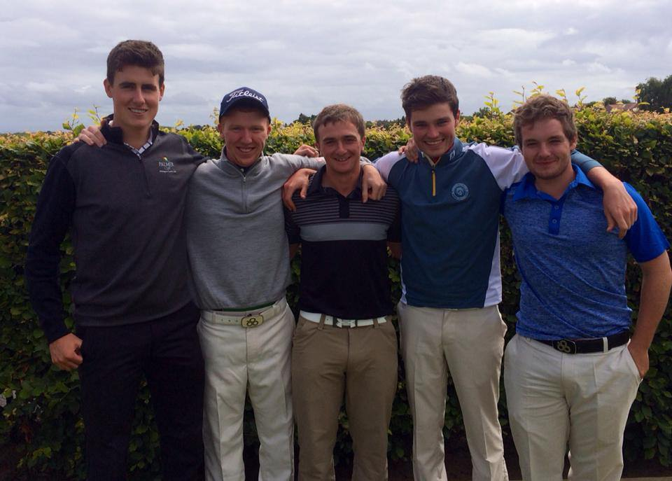 WALKER CUP PLAYERS  (L-R) GARY HURLEY, GAVIN MOYNIHAN, PAUL DUNNE, CORMAC SHARVIN AND JACK HUME. (PIC: CORMAC SHARVIN/FACEBOOK)