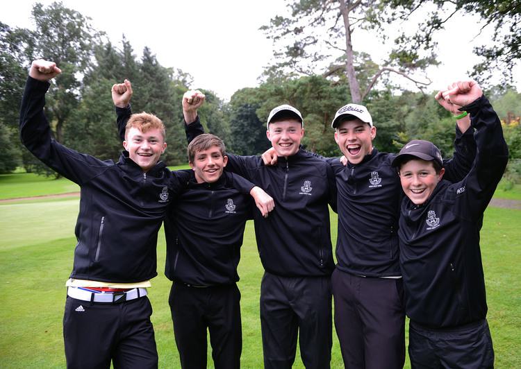 Kilkenny's Jeff Kealy (second left) celebrates with team mates (from left) Dylan Smithwick, Mark Power, Harry Duggan and Jack Walsh after securing victory on the 16th green to clinch the final of 2015 Fred Daly All Ireland Trophy at Moyola Park Golf Club. Picture by  Pat Cashman