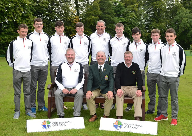 Michael Connaughton (President, GUI) with the Co Sligo Team beaten semi finalists in the 2015 Fred Daly Trophy All Ireland Finals at Moyola Park Golf Club. Front row (from left) Terry Brady (Team Captain) and Aidan Doyle (Captain, Co Sligo GC). At back (from left) Joseph Keyes, Peter O'Hara, T.J Ford, Paddy Bird, Tom Ford (Team Vice Captain), David Brady, Cian Feeney, Luke Armstrong and Tom O'Hara. Missing from picture is Conor Wynne. Picture by  Pat Cashman
