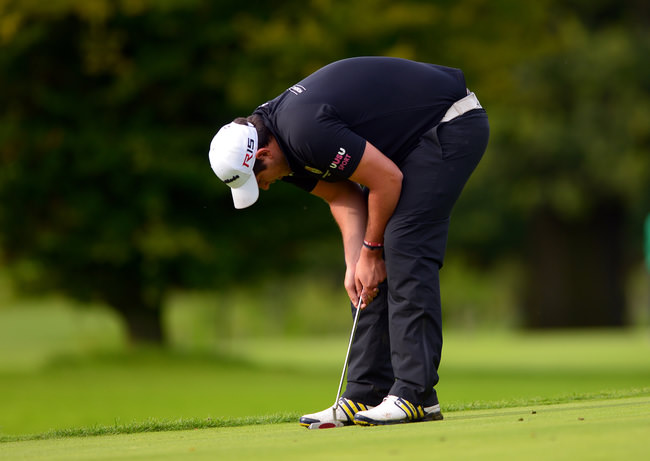 Stefan Greenberg (Tandragee/UU) reactsto a missed putt on the 9th green in the Irish Youths Open & Irish Colleges Invitational Championship at Moyola Park. Picture by  Pat Cashman