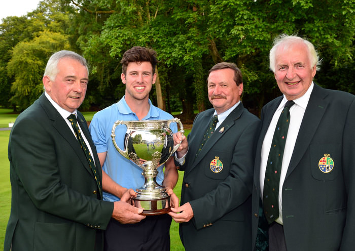 Kevin McIntyre (President Elect, GUI) presenting Alex Gleeson (Castle) with the Irish Youths Open Championship trophy after his victory at Moyola Park Golf Club today (28/05/2015).Also in the picture are Laurence McQuillan (Captain, Moyola Golf Club) and Peter Sinclair (Chairman, Ulster Branch, GUI). Picture by  Pat Cashman