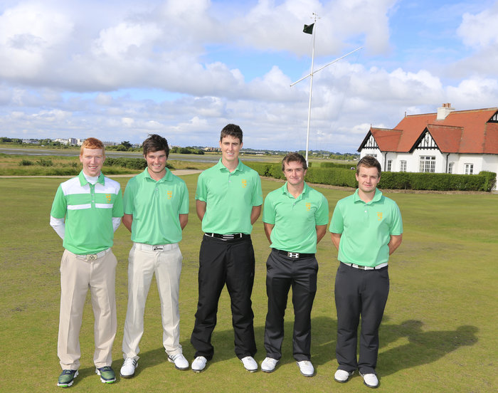 Ireland's five Walker Cup players were at Portmarnock Golf Club today on Wednesday ahead of the GB&I match with USA at Royal Lytham & St Anne's next week. From left, Gavin Moynihan (The Island), Cormac Sharvin (Ardglass), Gary Hurley (West Waterford), Paul Dunne (Greystones) and Jack Hume (Naas). Picture: Golffile