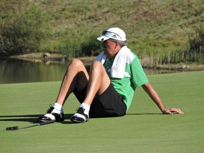 Adrian Morrow takes a breather in the sunshine in Bulgaria. Picture: Bulgarian Golf Association