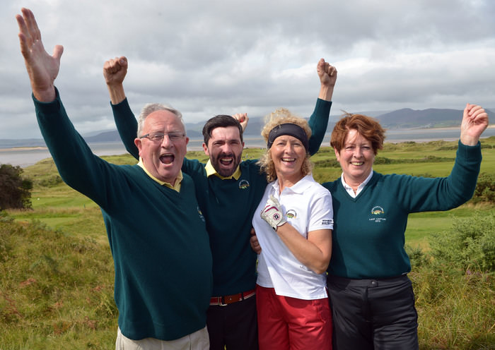Dooks win on the 18th green......Willie Murphy (Captain, Dooks GC), Delia Foley (Lady Captain, Dooks GC) celebrate with Karl Falvey and Eileen Breen on the 18th green after their victory to clinch the final win over Malahide Golf Club at the 2015 Irish Mixed Foursomes Finals (sponsored by the Spanish Tourist Board) at Dooks Golf Club (04/09/2015). Picture by Pat Cashman