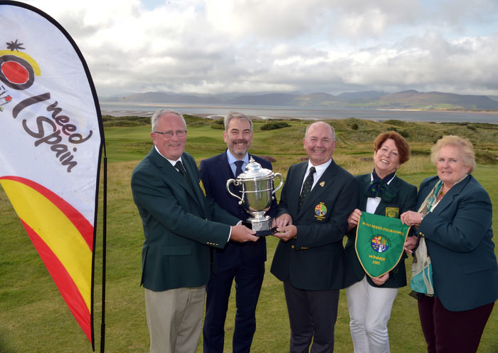 Michael Connaughton (President, GUI) presenting Willie Murphy (Captain, Dooks Golf Club) with the 2015 Irish Mixed Foursomes trophy (sponsored by the Spanish Tourist Board) at Dooks Golf Club today (04/09/2015).Also in the picture are Gonzalo Ceballos (Spanish Tourist Board), Delia Foley (Lady Captain, Dooks Golf Club) and Marion Pattenden (ILGU) Picture: Pat Cashman