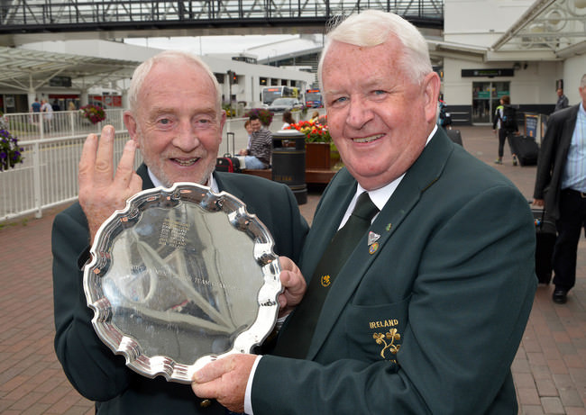 Irish Seniors Team Captain Sean O'Leary (left) and Tommie Basquille (Team Manager) with the 2015 European Senior trophy. Picture by Pat Cashman
