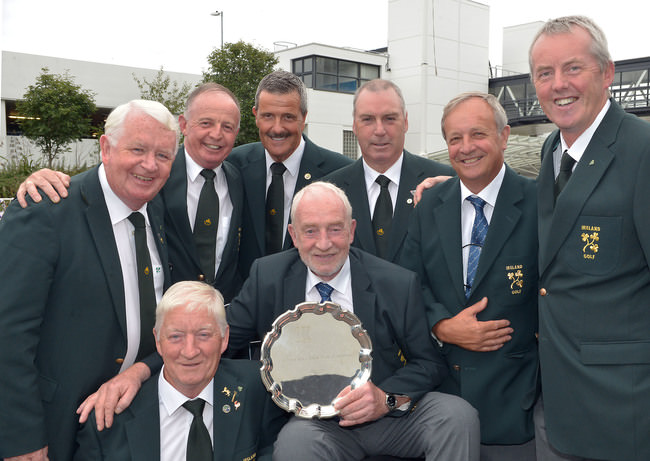 European Senior Men's Team Champions for three years in a row. Irish Seniors Team Captain Sean O'Leary with the 2015 European Senior trophy and team members (clockwise) Maurice Kelly, Tommie Basquille (Team Manager), Tom Cleary, Adrian Morrow, Garth McGimpsey, Arthur Pierse and John Mitchell on their return to Dublin Aiport this evening (06/09/2015) after their victory in Bulgaria. Picture by Pat Cashman