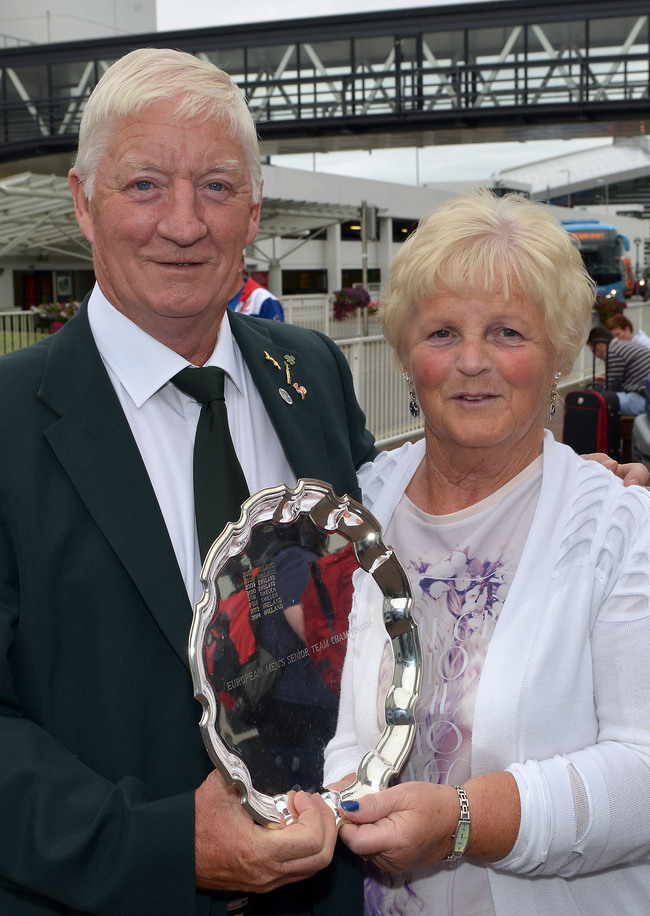 Irish Seniors International Maurice Kelly (Naas) with his wife Ann with the 2015 European Senior trophy. Picture by Pat Cashman