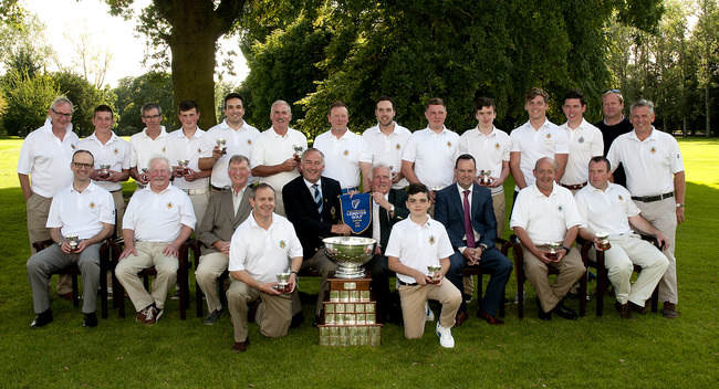 FBD Barton Cup Final 2015, Clontarf v Castle Golf Club. The winning Castle team, back (l to r): Harry Gleeson, Jack Walsh, Eamon Duggan, Tommy Smyth, Michael Wilson, Fred Shackleton, Rob Stanley, Neil Bourke, Eoghan McKeever, Donal McAuliffe, Barry Fitzpatrick, Peter McKeever, Brendan Meaney and Ken McKervey. Centre: Ross Kinsella, Liam Reynolds, Richard Lenehan, Team Manager, Derry Byrne, Captain, John Ferriter, Chairman of Leinster Golf, John Read, FBD, Brian Gleeson and Jim Mulready. Front: Colm Gleeson and Thomas Harte. Photo: Ronan Quinlan